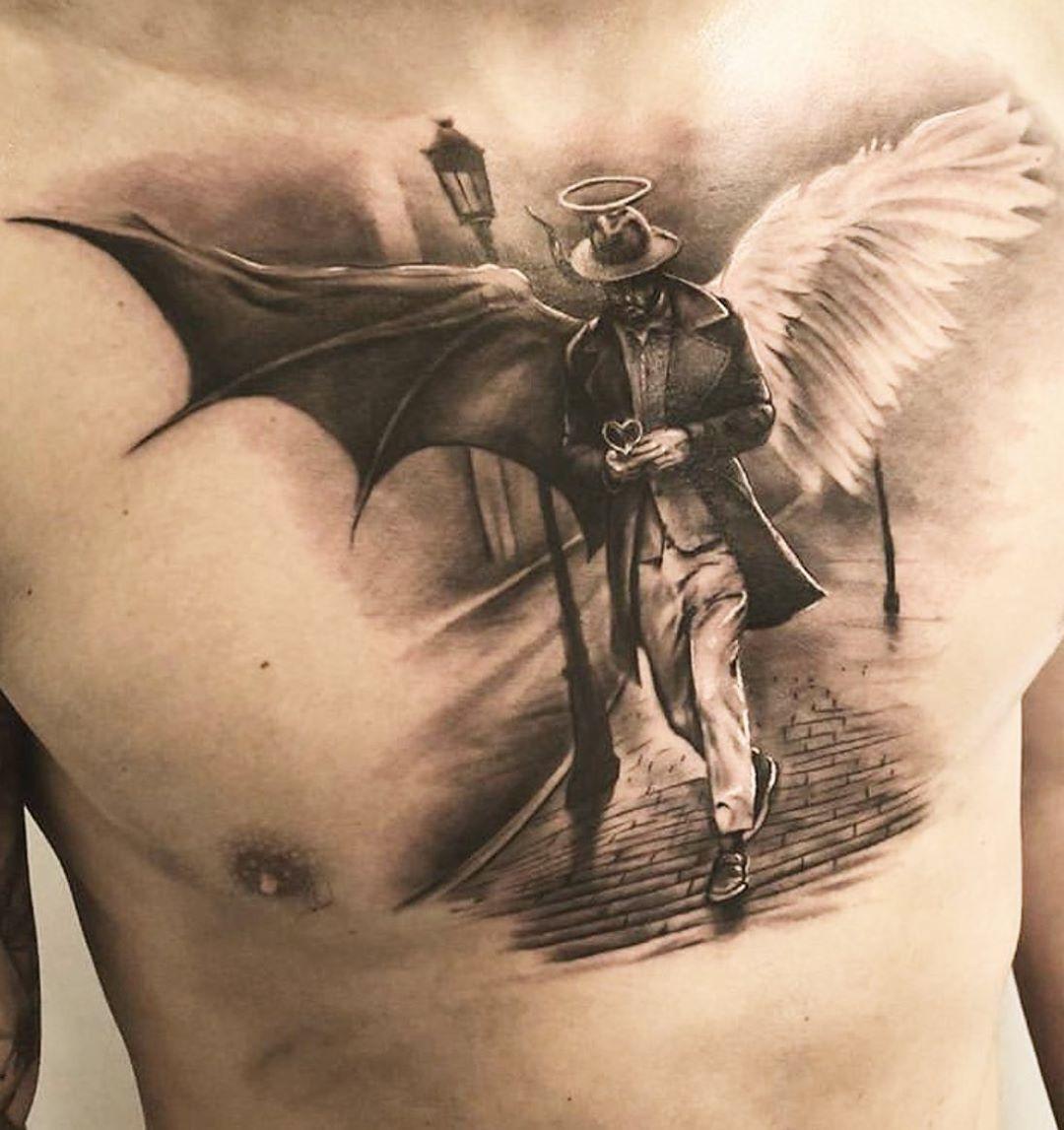 Angel Tattoos | Devil Tattoos | Angel Devil Wing Tattoo Designs | Chest tattoo Ideas fro Men