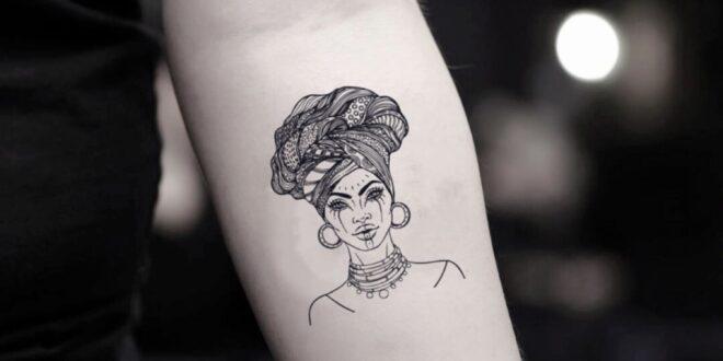 Black African Woman Temporary Tattoo Sticker (Set of 2)