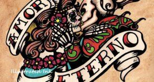 Dia de los Muertos AMOR ETERNO Day of the Dead Art Print 8 x 10 or 11 x 14
