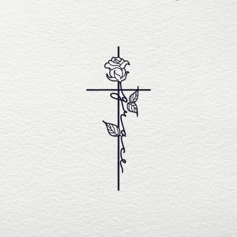 Grace Cross svg - Grace Jesus Christian Religious Rose Flower Bud Cross SVG Clipart Files for Cricut Cut File Silhouette Vector Shirt