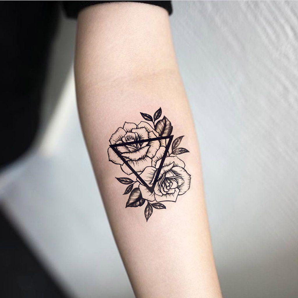 Salix Vintage Black Floral Rose Sunflower Temporary Tattoo