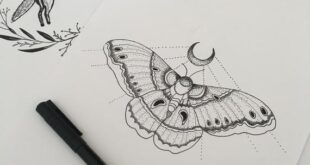 Witchy moth illustration | Goth | Dotwork | Tattoo | Cute wall art | Art print | Insect | Moon print